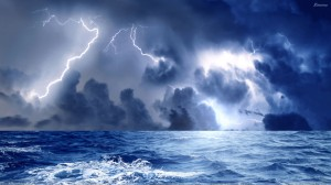 Storm-And-Blue-Lightining-At-Sea